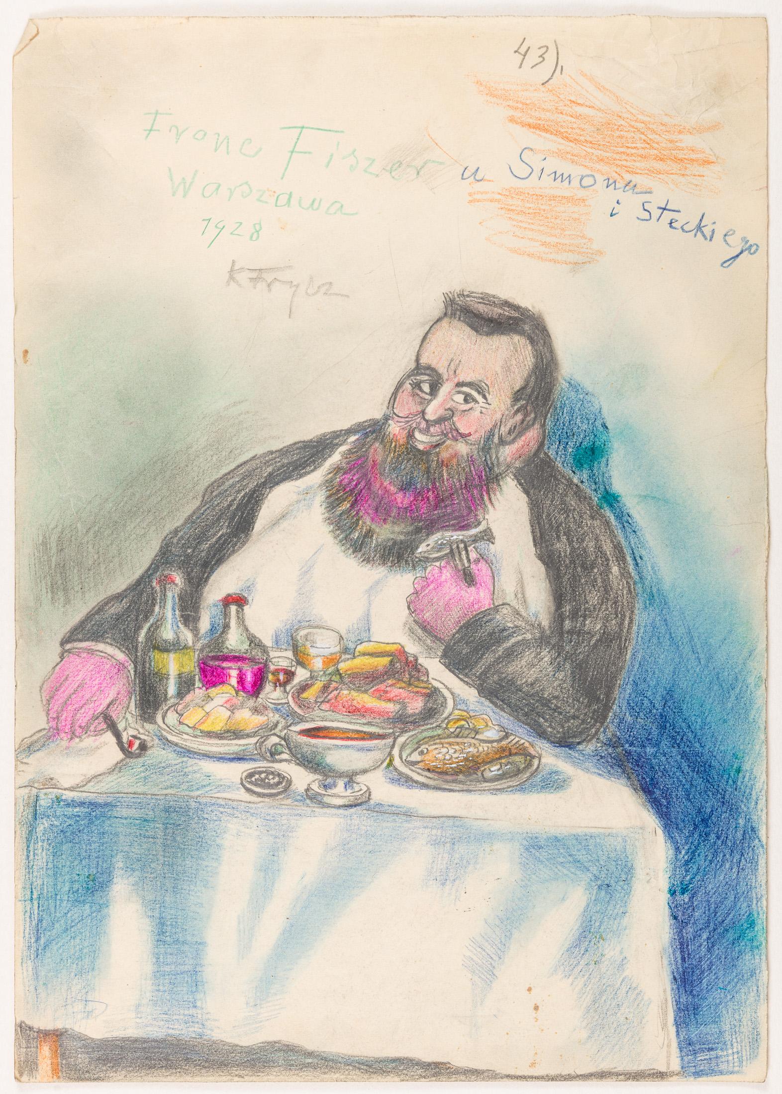 Franc Fiszer w restauracji Simona i Steckiego przy Krakowskim Przedmieściu, 1928