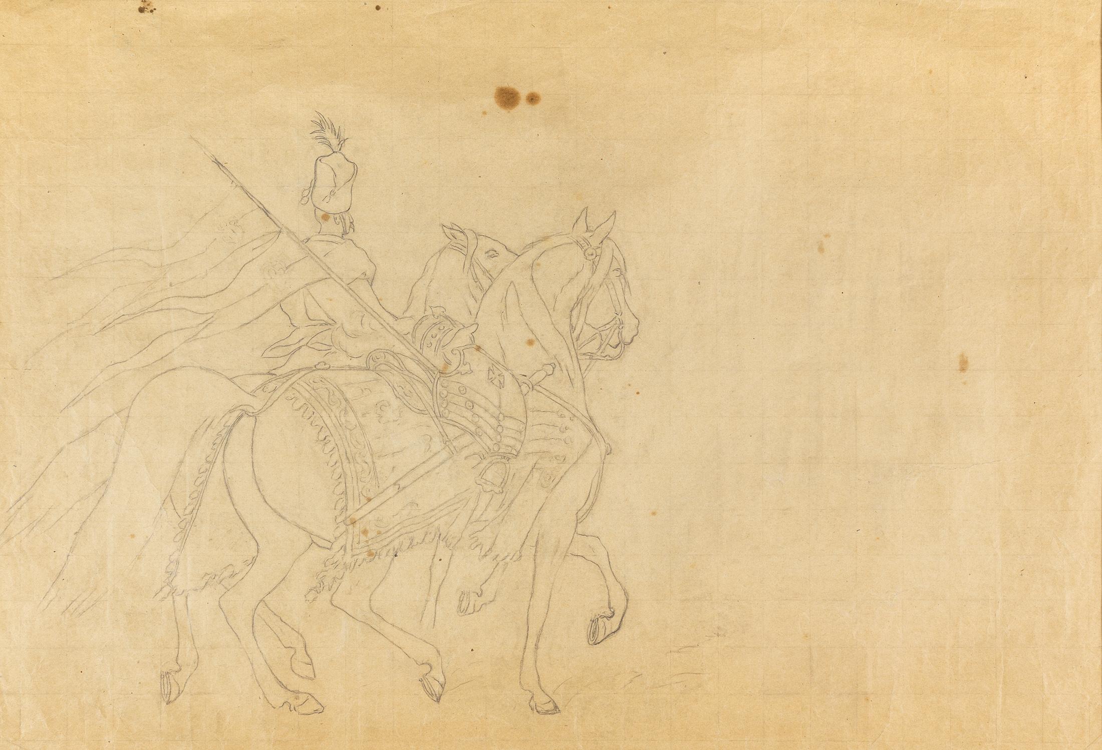 """Z rozkazu króla mam oddać tę zbroję i konia z rzędem, z cyklu """"Mohort"""" W. Pola (fragment kompozycji), 1882"""