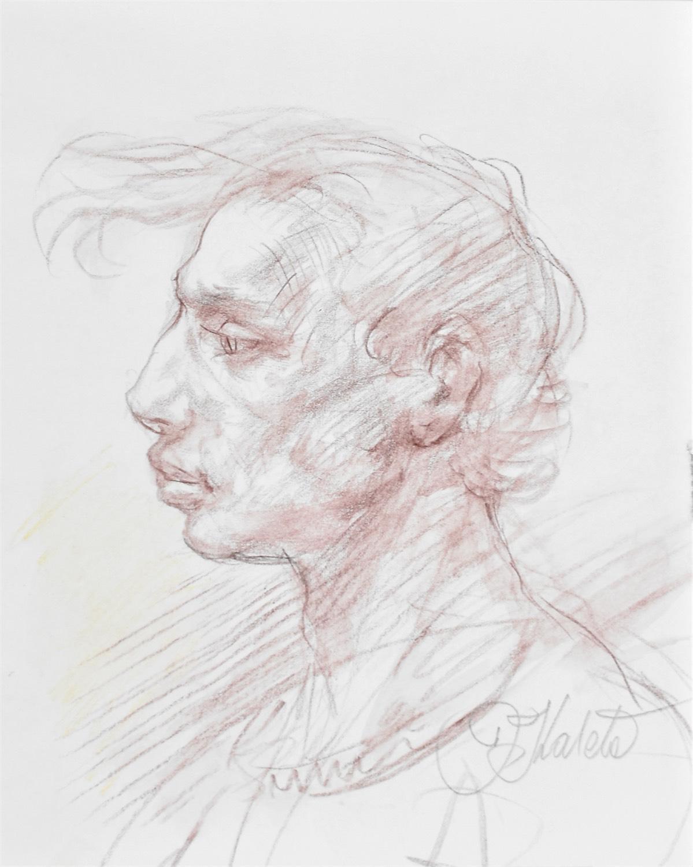 Popiersie mężczyzny z lewego profilu