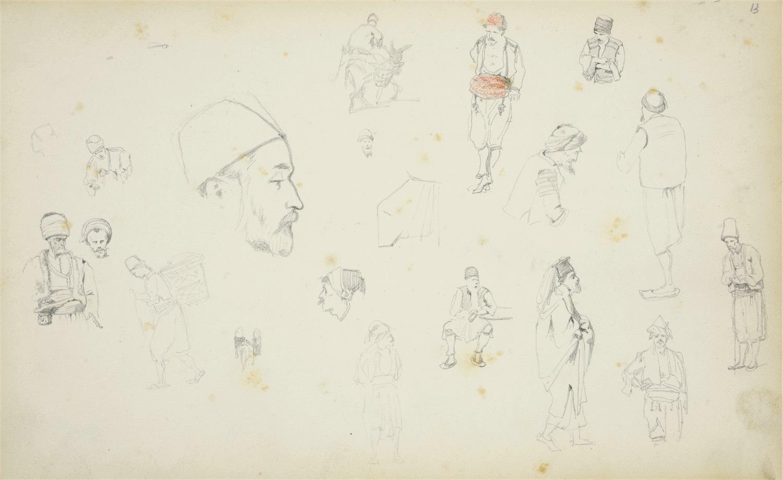 Szkice postaci w różnych pozach w strojach orientalnych i szkice głów