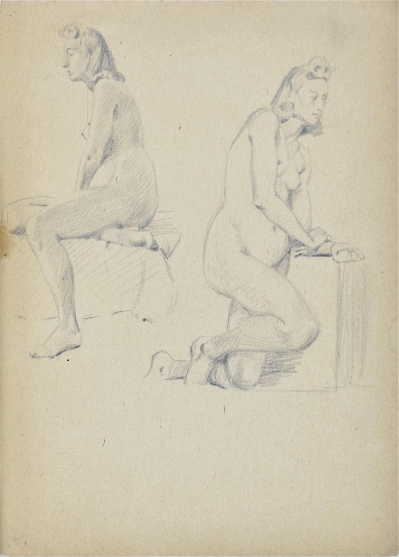 Studia aktu kobiety w dwóch pozach: siedzący akt kobiety i klęczący akt kobiety