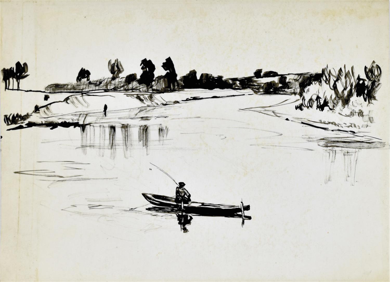 Pejzaż z rzeką i rybakiem na łodzi łowiącym ryby