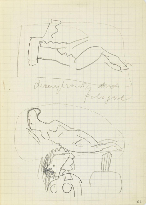 Szkice aktu leżącego, popiersia kobiece