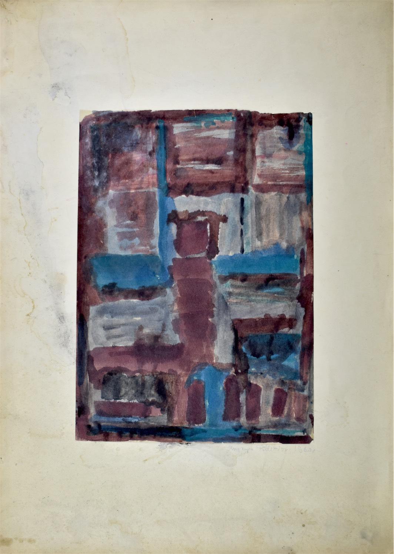 Kompozycja brązowo-niebieska, 1960