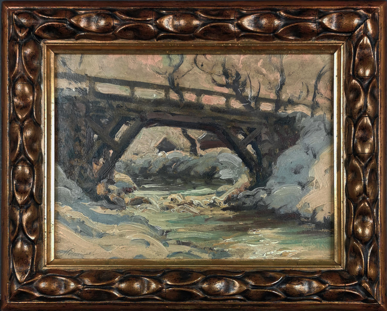 Pejzaż zimowy z rzeką i mostem