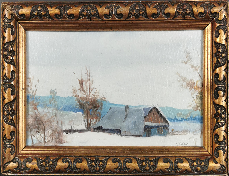 Pejzaż zimowy z chatami
