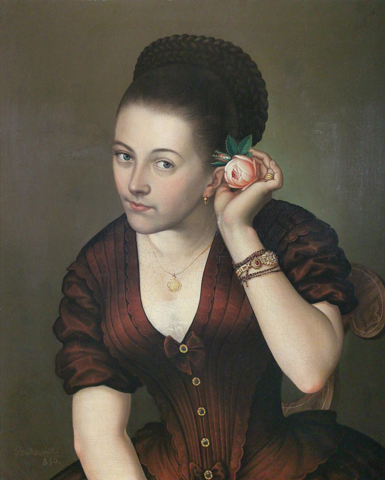Portret kobiety z różą, 1850