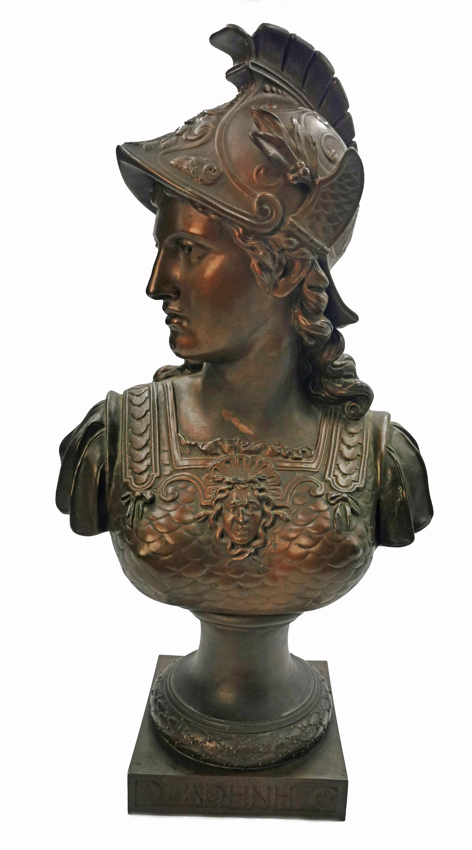 Popiersie bogini Ateny w hełmie i zbroi