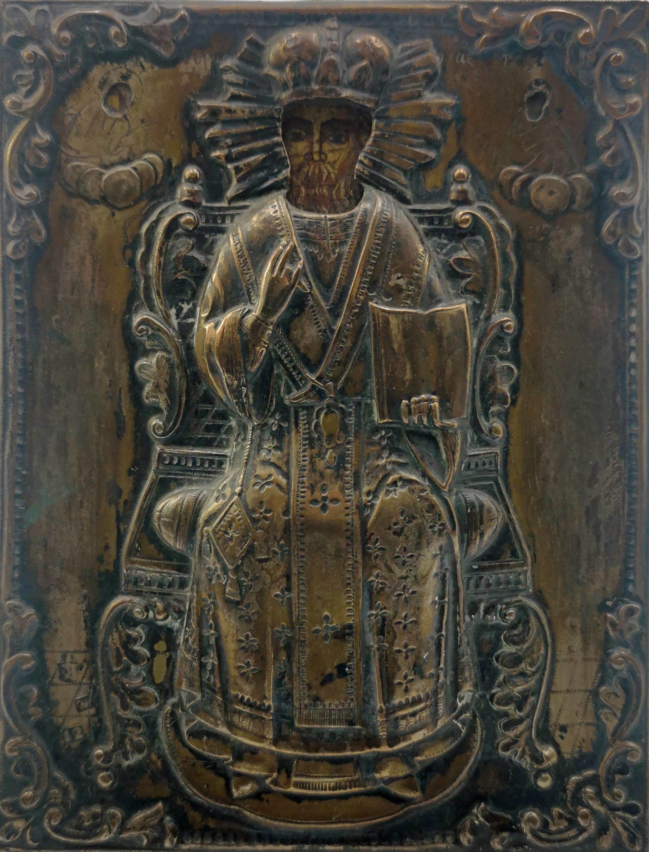 Ikona - Chrystus tronujący, w okładzie