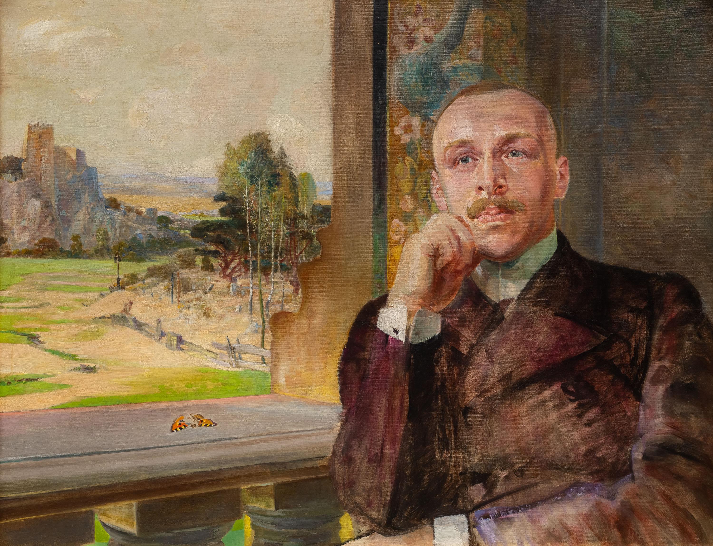 Portret Stefana Zborowskiego na tle ruin zamku, ok. 1912 r.