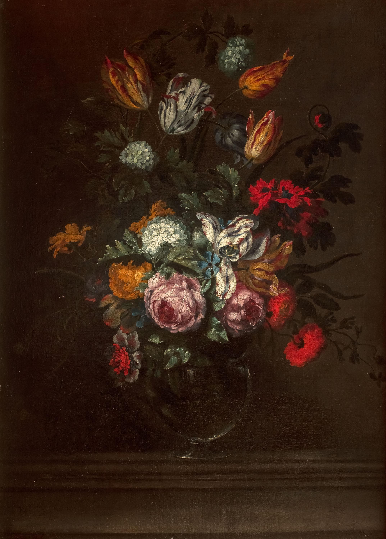 Martwa natura z różami i tulipanami na kamiennym cokole, lata 1655–1670