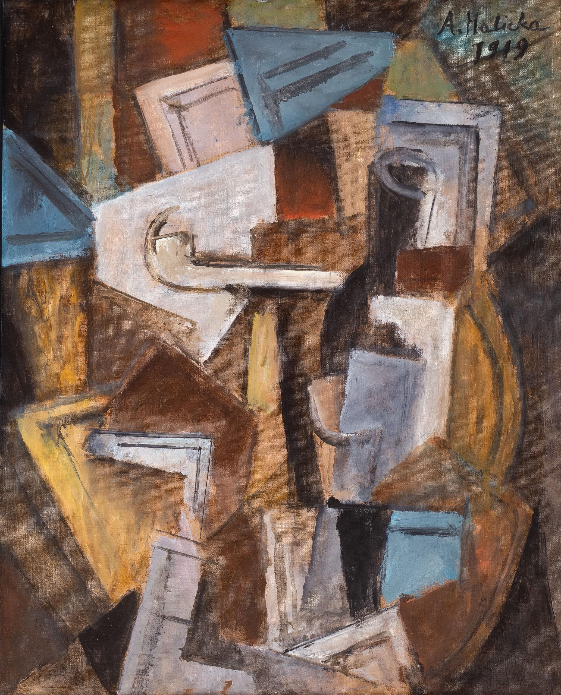 Kompozycja kubistyczna z fajką