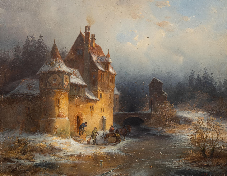 Zimowy pejzaż z zamkiem