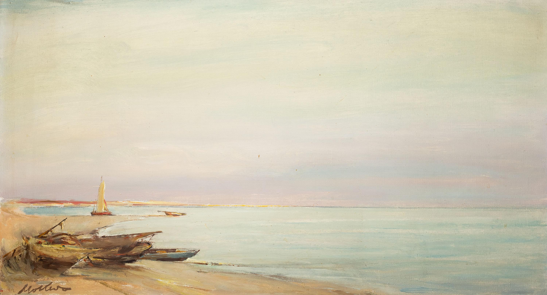 Łodzie na brzegu, ok. 1960 r.