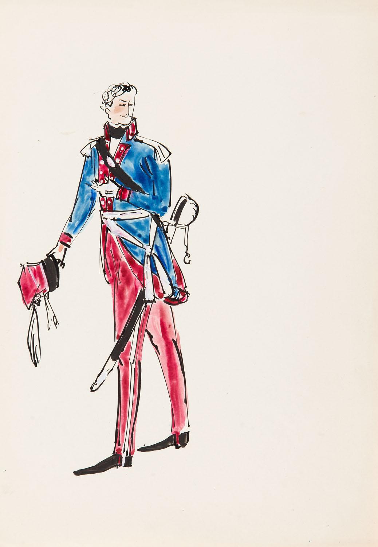 Oficer w mundurze błękitno-czerwonym