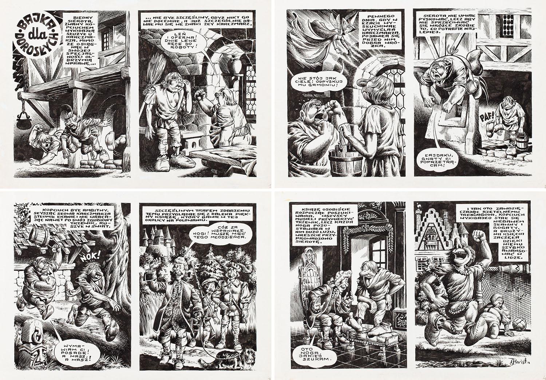 """""""Bajka dla dorosłych"""", komplet 4 plansz, 1977"""