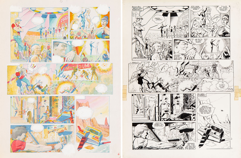 """Funky Koval. Bez oddechu"", plansza nr 6 + blaudruk, 1982"