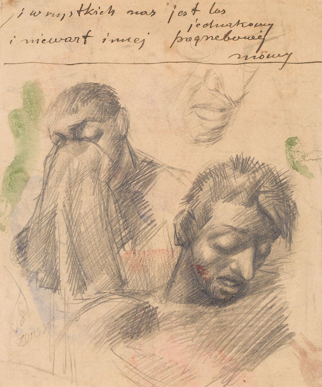 """Szkic głów do """"Pogrzebu"""", około 1918"""