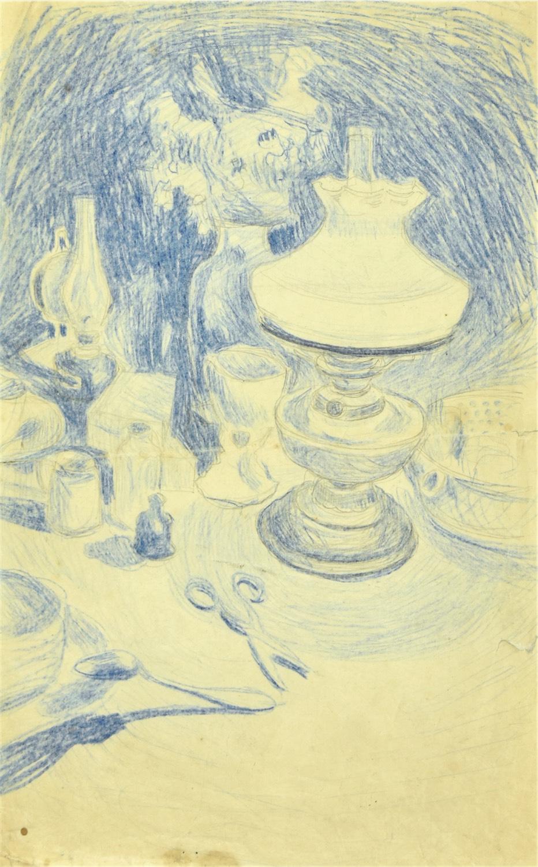 Martwa natura z lampą naftową, nożyczkami i naczyniami stołowymi, ok. 1895