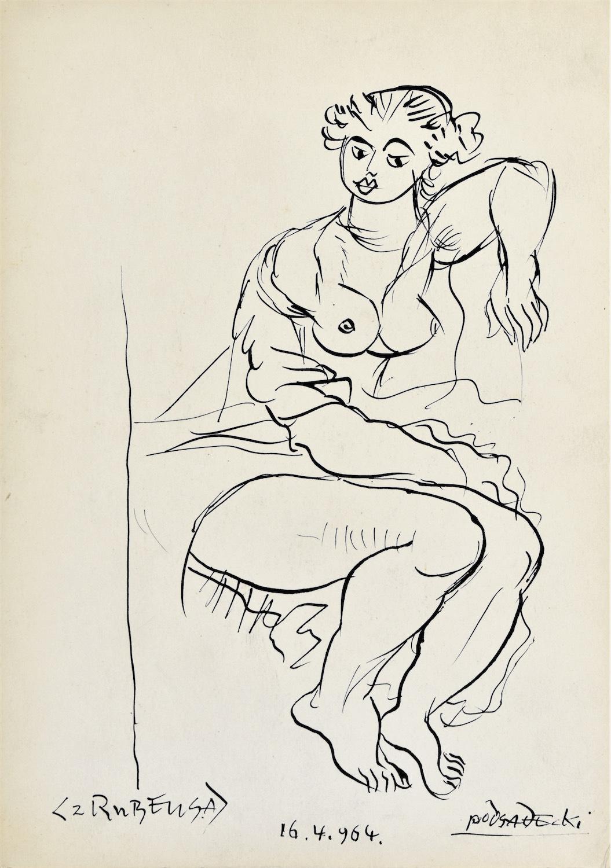 """Betsabe wg obrazu Petera Paula Rubensa """"Betsabe w kąpieli"""", 1964"""