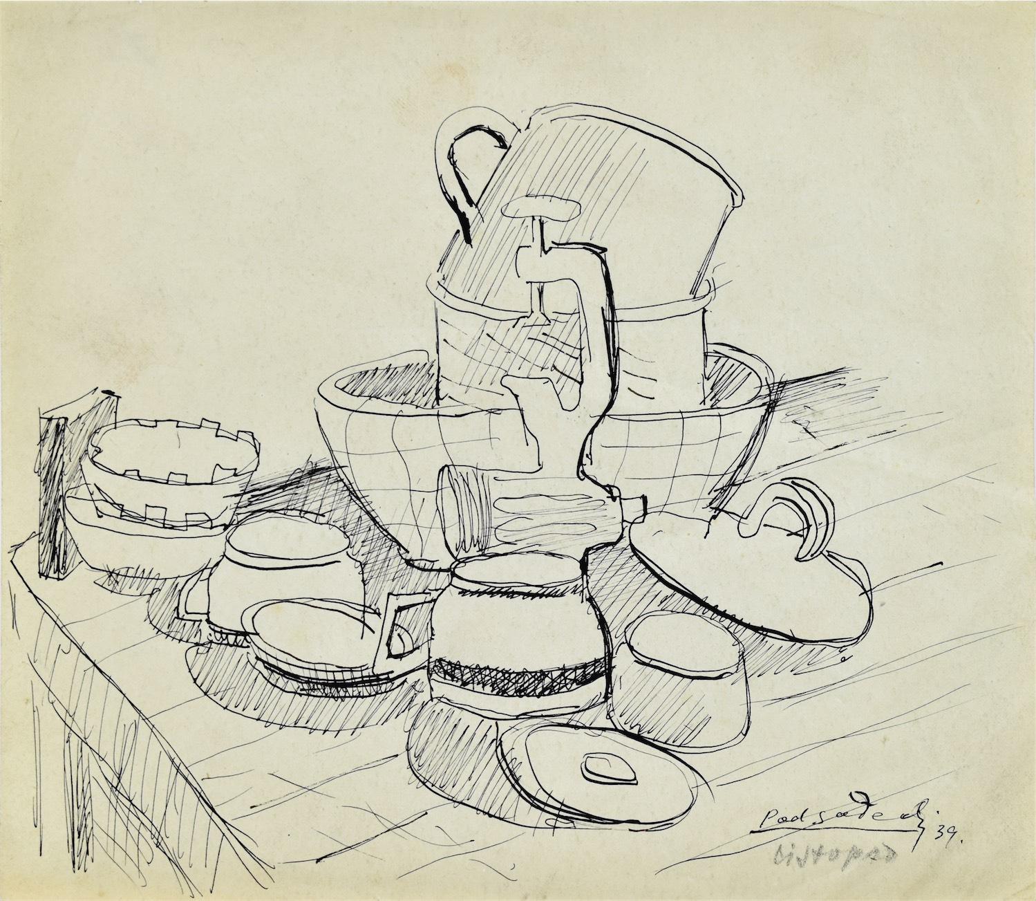 Martwa natura z naczyniami kuchennymi i maszynką do mielenia mięsa, 1939
