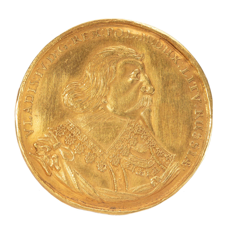 Władysław IV, półtalar medalowy koronny, bez daty [1635-1636], odbity w złocie, jako 5 dukatów,  r.