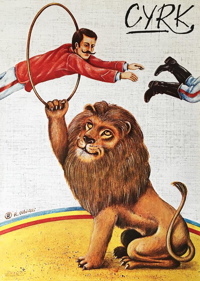 Cyrk - treser skaczący przez obręcz trzymaną przez lwa, 1980