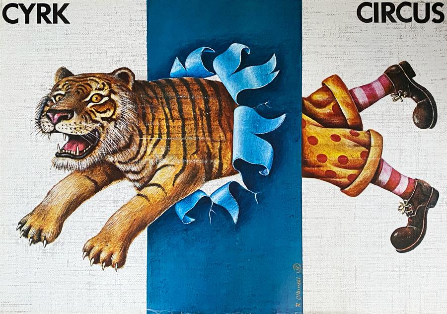 Cyrk - skaczący lew z nogami klauna, 1980