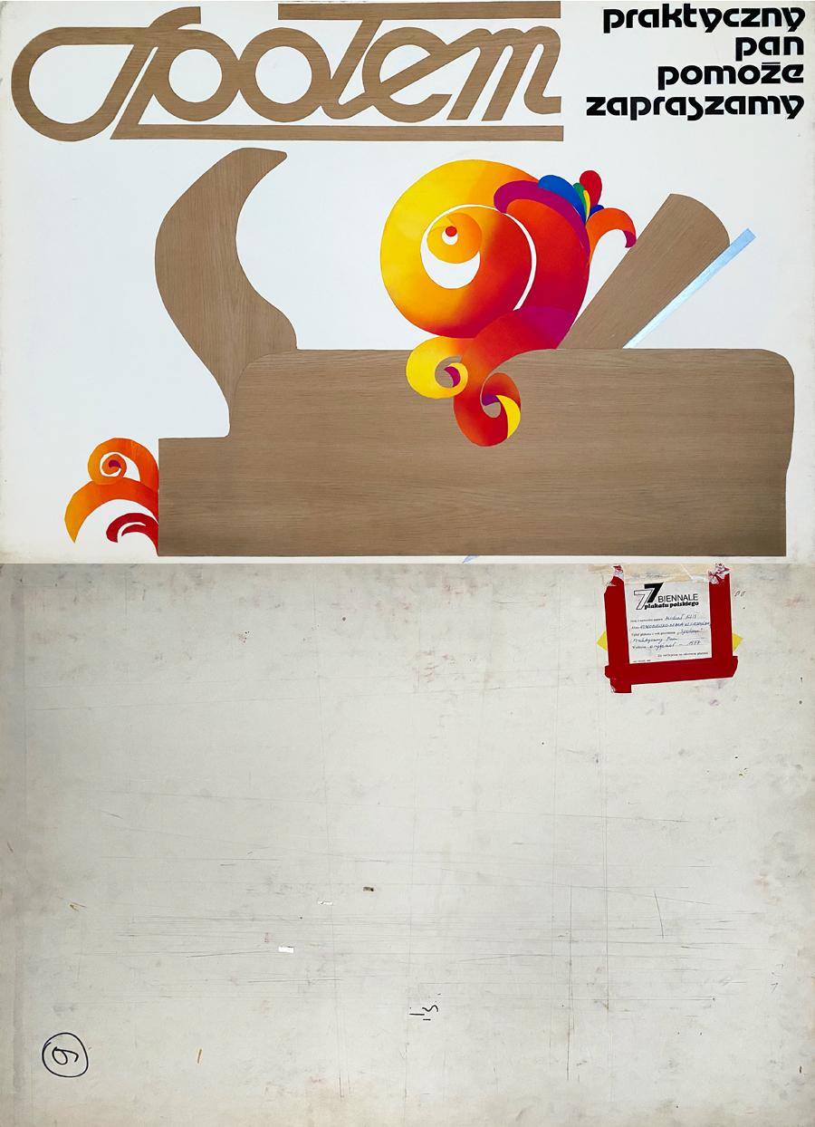 """Oryginalny projekt plakatu wystawiany na Ogólnopolskim Biennale Plakatu Polskiego w Katowicach 1977 r. """"Społem. Praktyczny pan"""", 1977"""
