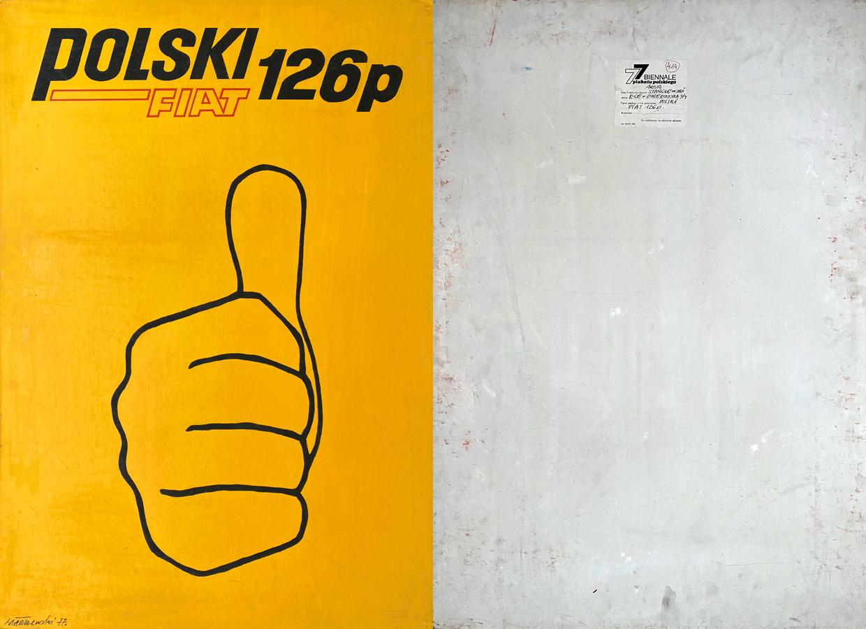 """Oryginalny projekt plakatu wystawiany na Ogólnopolskim Biennale Plakatu Polskiego w Katowicach 1977 r. """"Polski Fiat 126p"""", 1977"""
