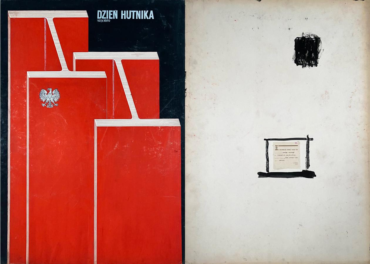 """Oryginalny projekt plakatu wystawiany na Ogólnopolskim Biennale Plakatu Polskiego w Katowicach 1971 r. """"...Dzień Hutnika"""", 1970"""