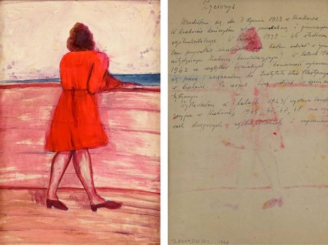 Kobieta w czerwonej sukience - praca dwustronna, 1948