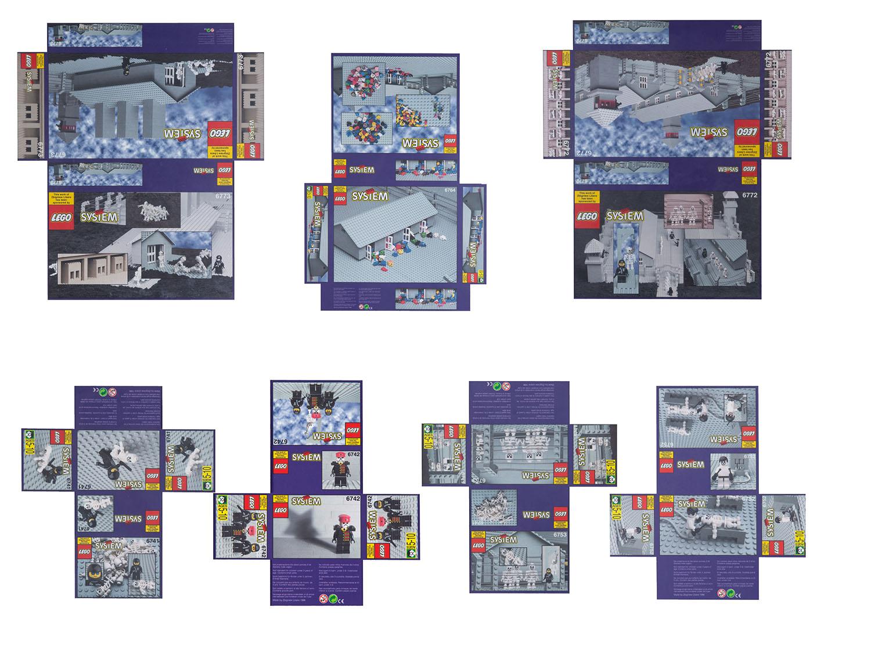 """Komplet 7 opakowań klocków """"Lego. Obóz koncentracyjny"""", 1996/2001"""