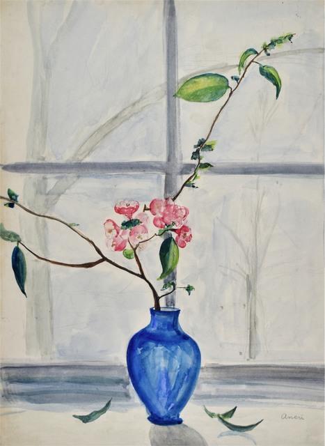 Kwiaty pigwy w niebieskim wazonie, ok. 1935