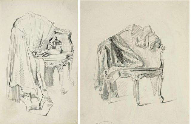 Płaszcz damski leżący na rokokowym fotelu;