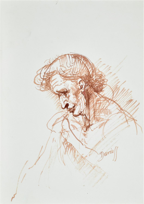 Szkic mężczyzny z pochyloną głową