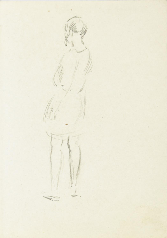 Szkic dziewczyny z warkoczami ukazanej tyłem