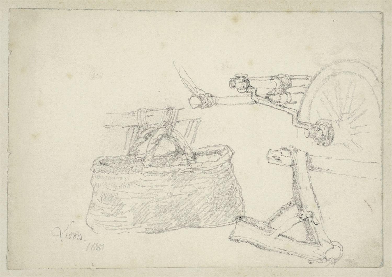 Szkice uprzęży i kosza, 1884