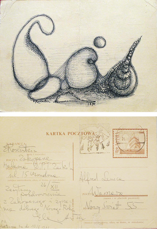 KARTKA POCZTOWA DO ALFREDA LENICY, 1970 r.