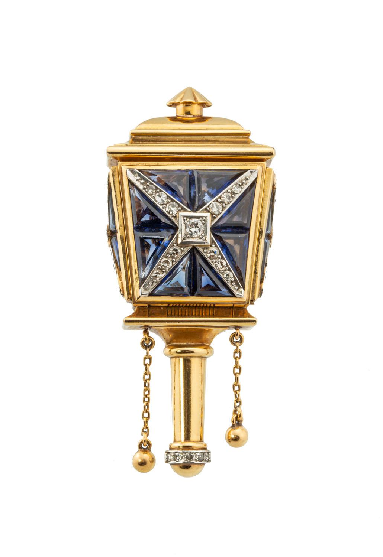 Brosza w formie latarni z zegarkiem Omega, 2 poł. XX w.