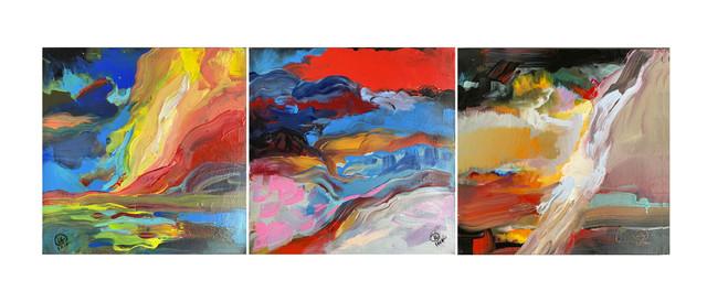 """Tryptyk trzech obrazów XXII, XXIII i XXIV """"Kąpiel ognista""""z serii """"Emocje"""", 2020"""