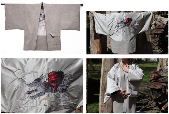 """Art. Kimono Dwustronne z haftem """"Silver Wolf by Józef Wilkoń"""", 2019"""