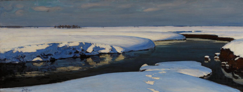 ADOPCJA: Julian Fałat (1853- 1929), Pejzaż zimowy z rzeką, 1907