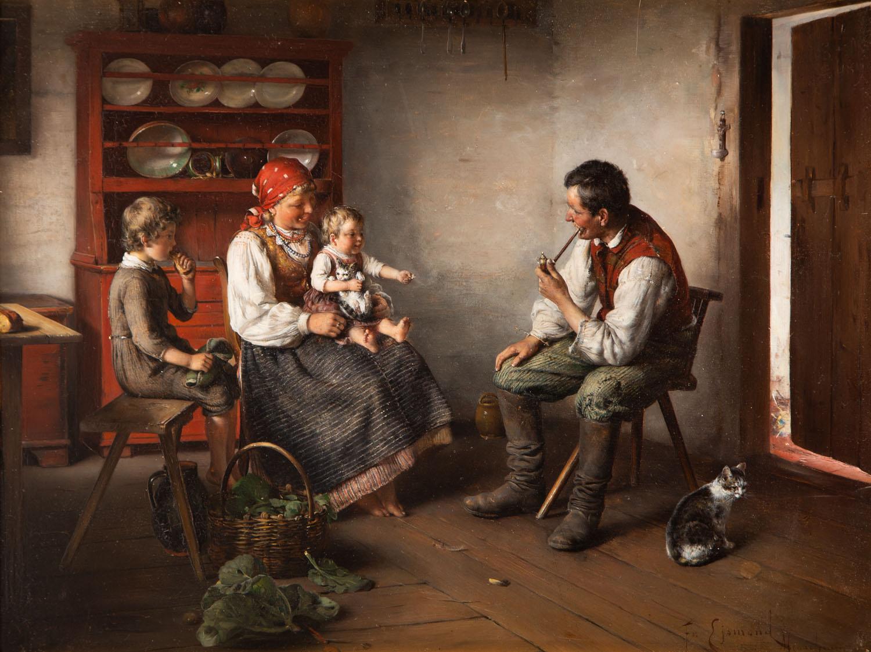 Scena rodzinna we wnętrzu chaty