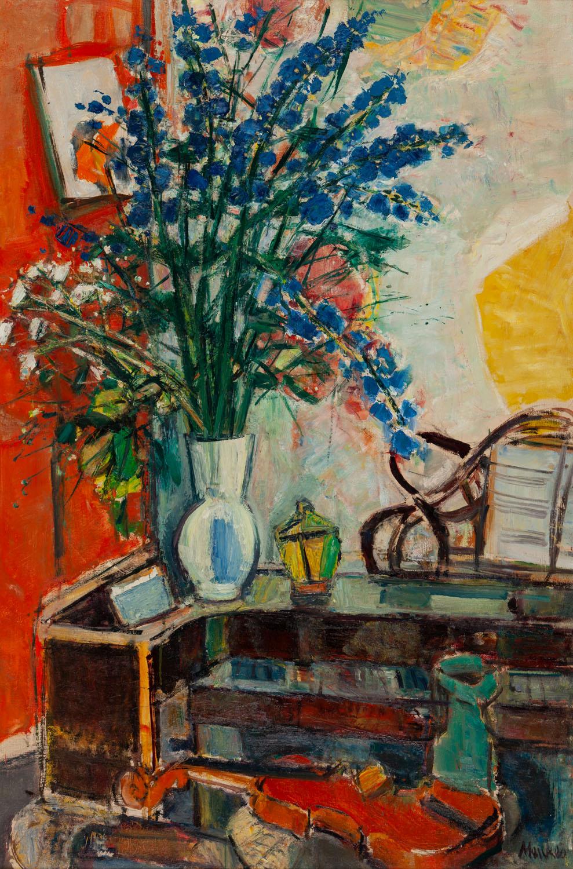 """Wnętrze z bukietem kwiatów w wazonie i skrzypcami (""""My Bouquet""""), lata 40. XX w."""