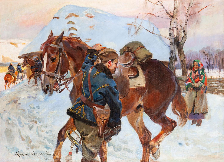 Dziewczyna i ułan z koniem, 1923