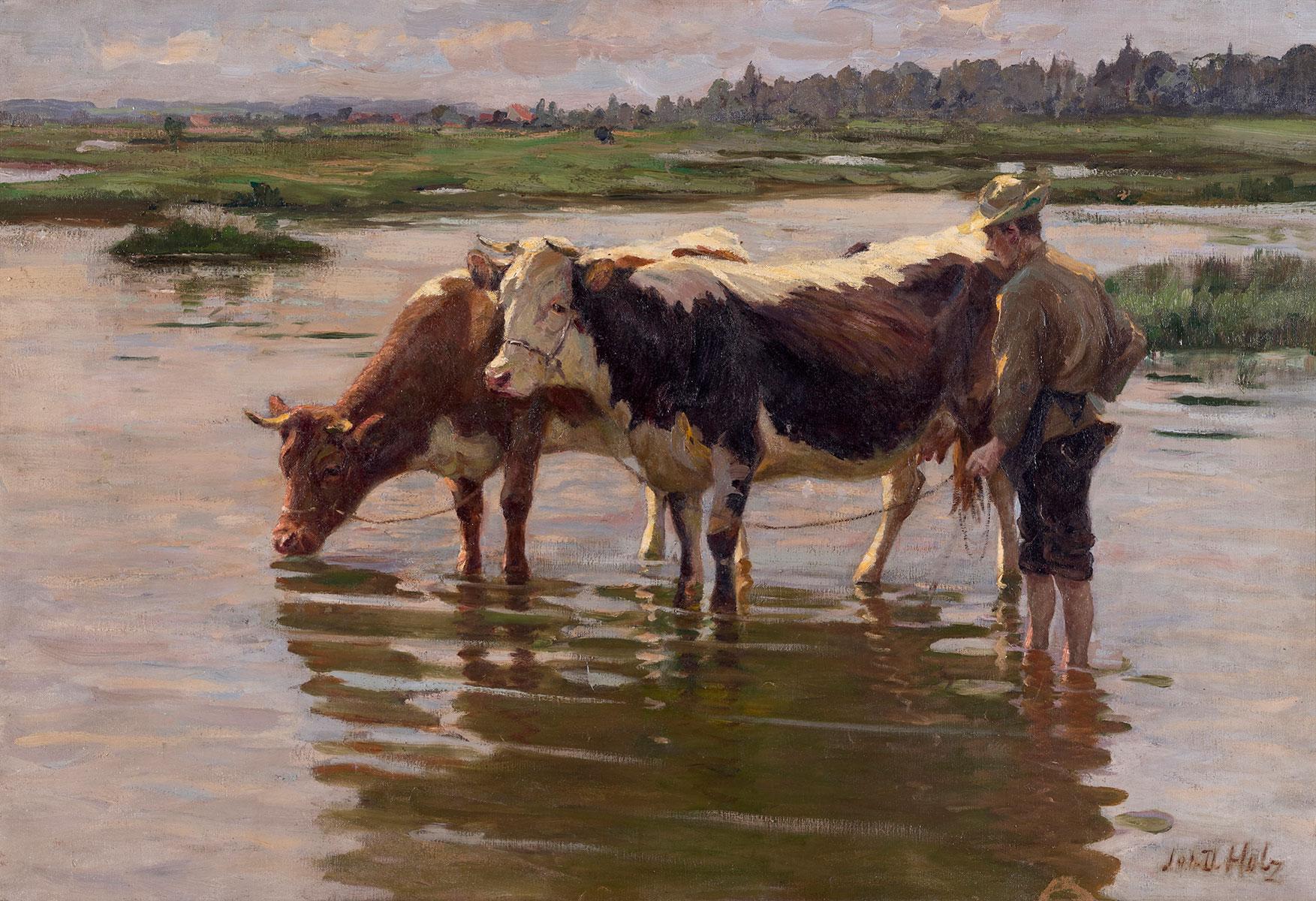 Pojenie krów, ok 1920