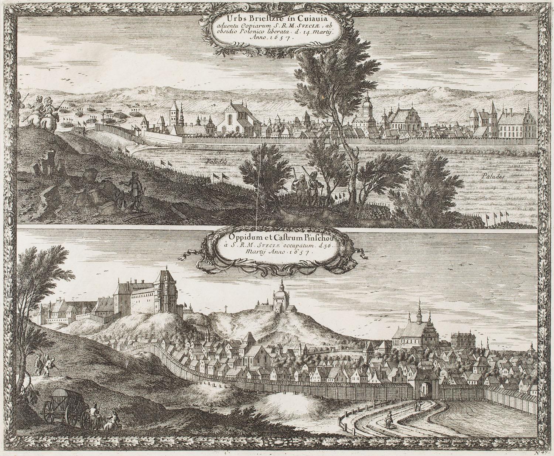 Widok Brześcia Kujawskiego i zamku w Pińczowie, 1696