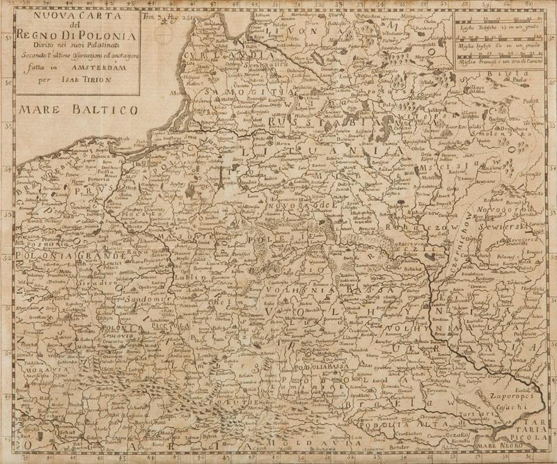 Mapa Polski (Nuova Carta Del Regno Di Polonia), 1736