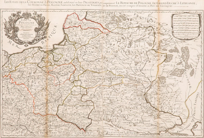 Mapa Rzeczpospolitej wg Guillaume Sanson i Alexis-Hubert Jaillot z 1675 roku